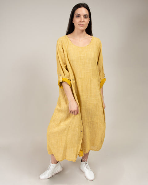 Italian Linen Striped Button Detail Dress in Yellow/White