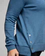 Side Button Detail Cardigan - Blue