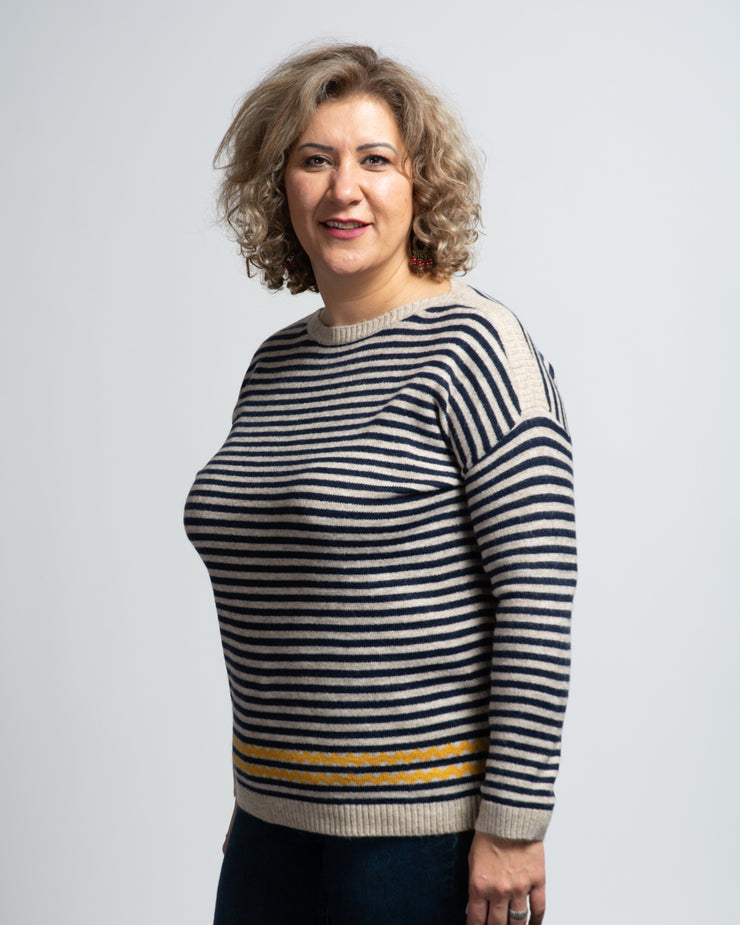 Boat Neck Striped Sweater - Navy