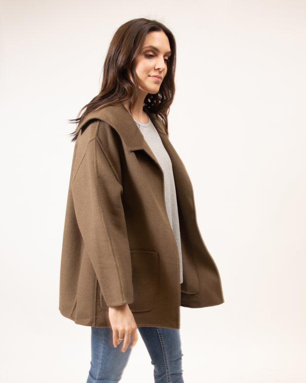 Sailor Collar Coat in Brown