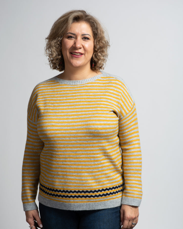 Boat Neck Striped Sweater - Yellow