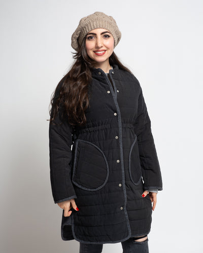 Snap Front Quilted Coat
