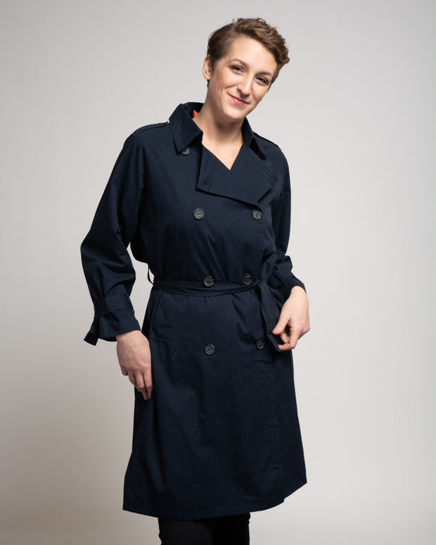 Cotton Blend Trench Coat - Blue