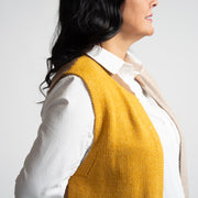 Colour Blocked Sleeveless Cardigan - Brown/Orange
