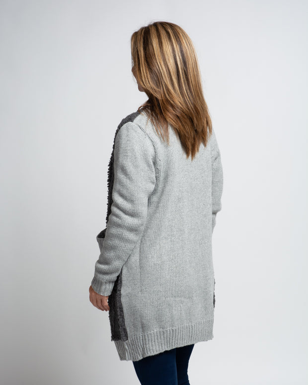 Faux Sherpa Knit Jacket - Grey