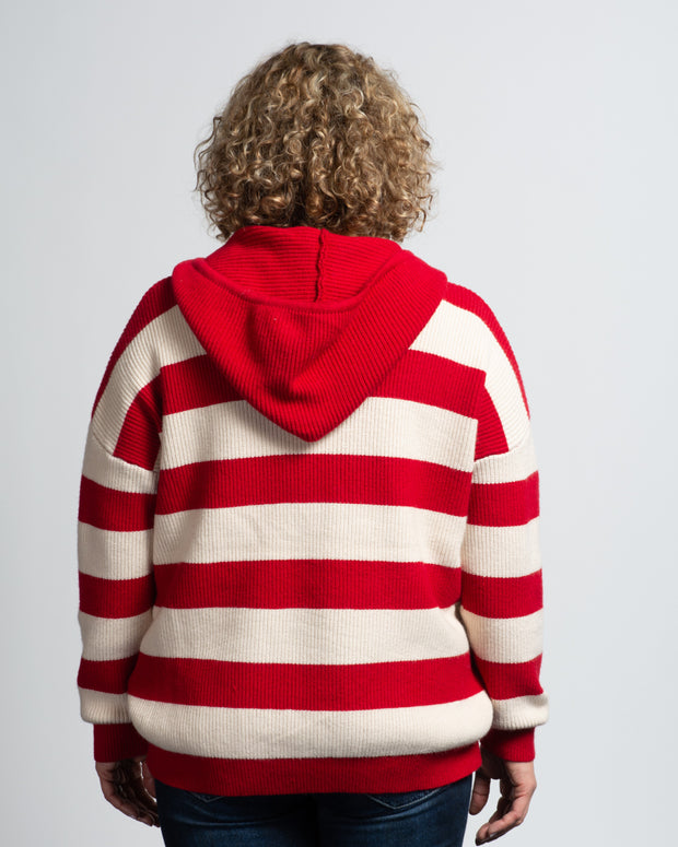Knit Hoodie - Red/White