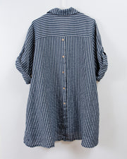 Stripe Button Detail Linen Blouse in Blue/White