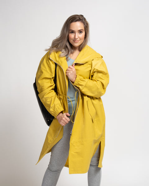 Adjustable Waist Weatherproof Jacket - Yellow
