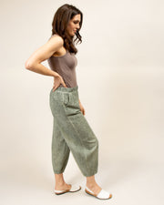 Cropped Tapered Linen Pants