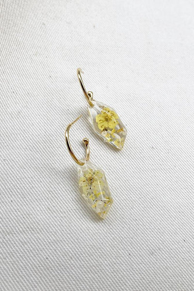 Yellow Floral Resin Earrings