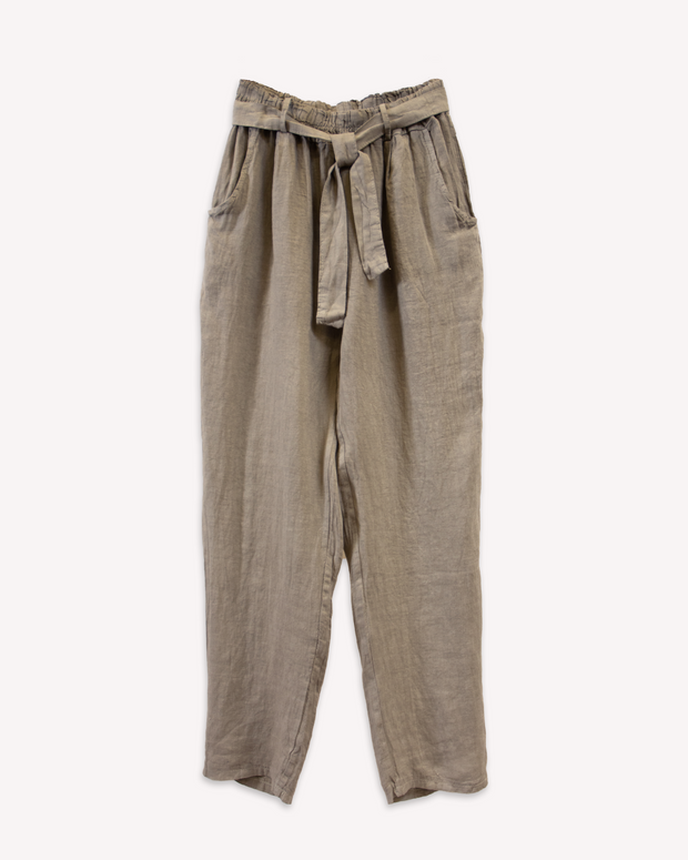 Conica Tapered Linen Pant in Fango