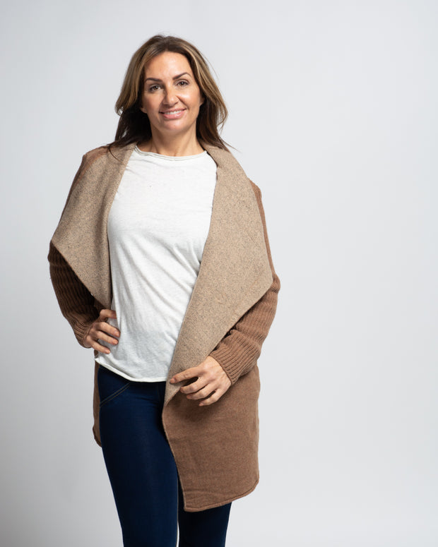 Asymmetric Knit Jacket - Camel