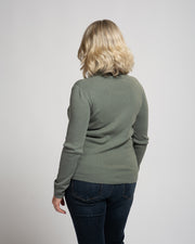Wide Crew Neck Pullover - Green