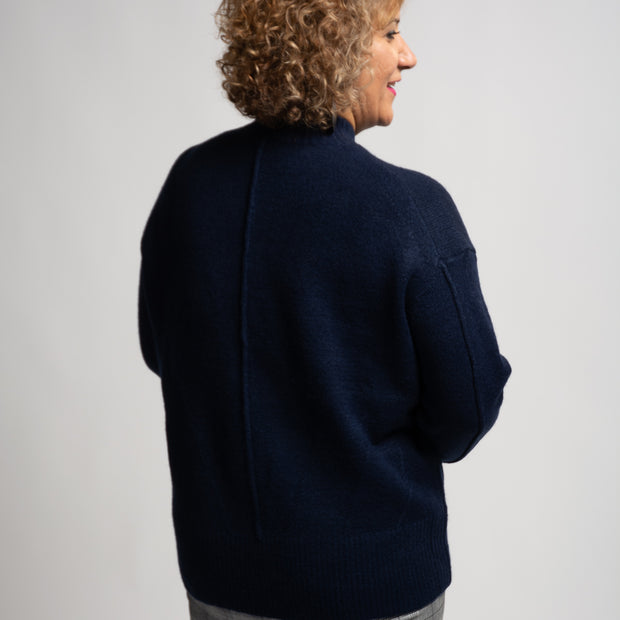 Band Collar Sweater - Navy