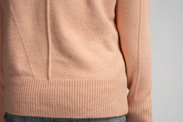 Band Collar Sweater - Peach