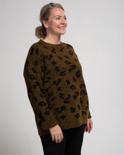 Leopard Print Melange Sweater - Brown