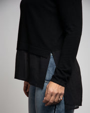 Crepe Underlay Sweater - Black