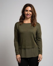 Crepe Underlay Sweater - Green