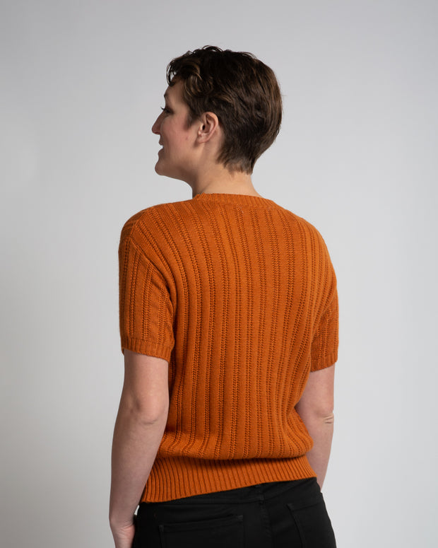 Vertical Detail Knit Tee - Orange