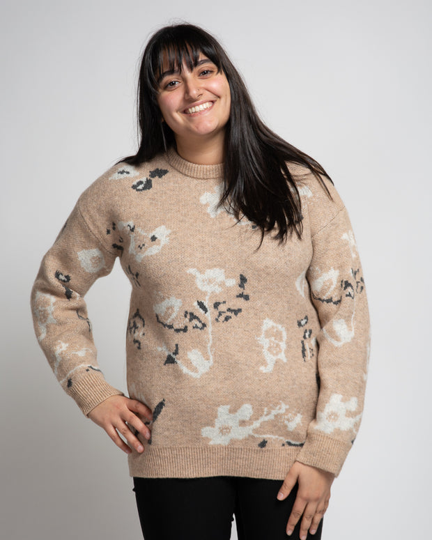 Floral Print Sweater - Beige