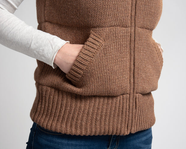 Knit Puffer Vest - Brown