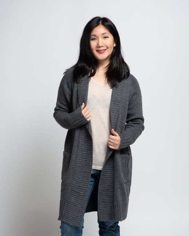 Long Cardigan with Lapels - Dark Grey