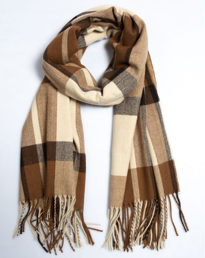 Brown Checked Blanket Scarf