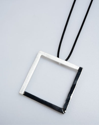 Silver Square Pendant Necklace