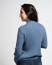 Ribbed Mock Neck Pullover - Blue