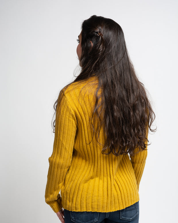 Ribbed Mock Neck Pullover - Yellow