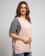 Knit Tank with Side Buttons - Pink