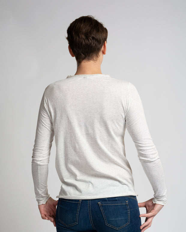 Raw Hem Long Sleeve Tee - Cream