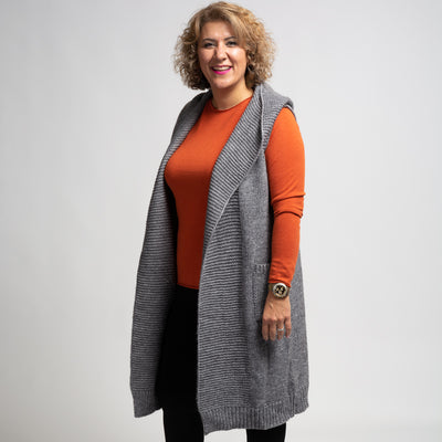 Sleeveless Hooded Cardigan