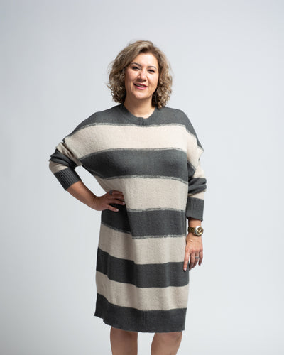 Wide Striped Sweater Dress
