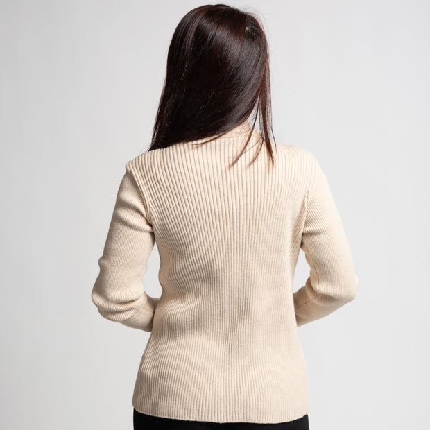 Ribbed Zip Sweater - Cream