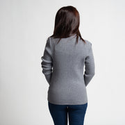 Ribbed Zip Sweater - Grey