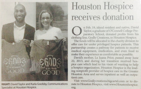 HOUSTON HOSPICE RECEIVES DONATION