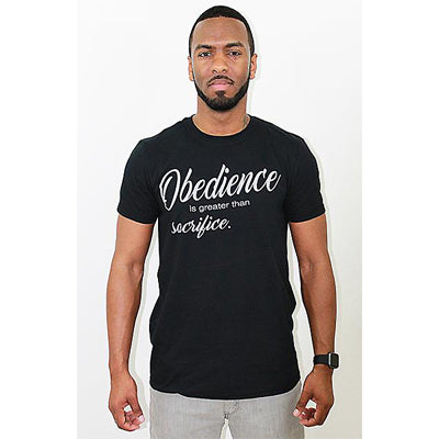 Godly Creations Clothing's Men's Obedience is Greater than Sacrifice Christian T Shirt