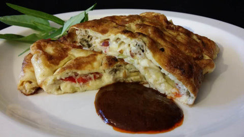 Omelette with Oyster Meat and Pickled Jalapeno