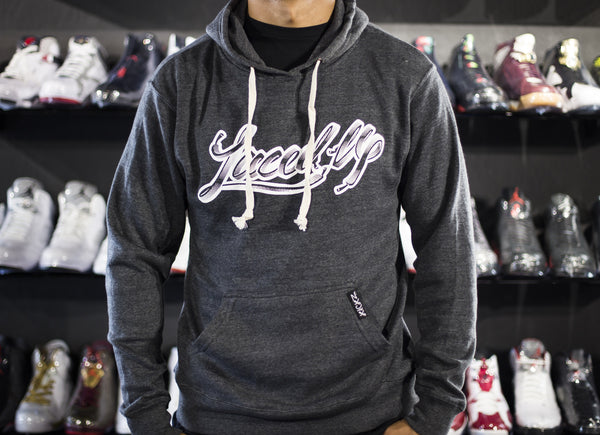 KICKZ LACED UP HOODIE PULLOVER GREY