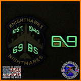 69th Bomb Squadron Knighthawks PVC GLOW IN THE DARK Morale Patch and Tab set