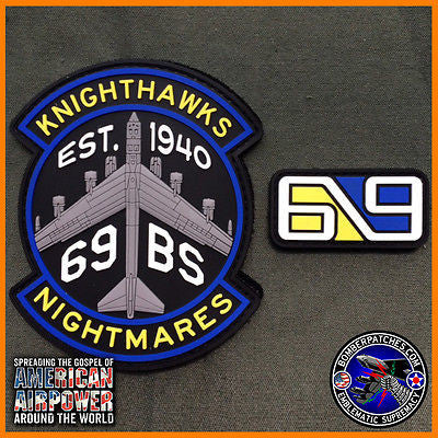 69th Bomb Squadron Knighthawks PVC Morale Patch and Tab set