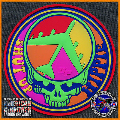 Shut Up Hippie B-52 Stratofortress Psychedelic Colors Morale Patch PVC