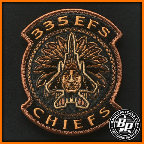 "335th Expeditionary Fighter Squadron ""Chiefs"" AEF 2019 Deployment Patch, Embroidered"