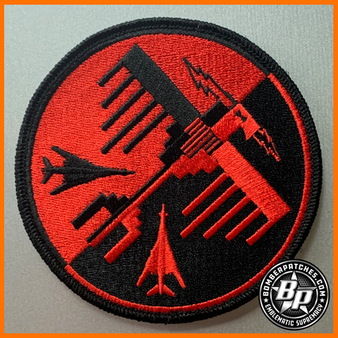 34TH EXPEDITIONARY BOMB SQ THUNDERBIRDS DEPLOYMENT EMBROIDERED PATCH, B-1B, Red/Black