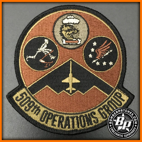 509TH OPERATIONS GROUP EMBROIDERED PATCH 13 BS, 393 BS, 509 OSS, B-2 WHITEMAN DESERT
