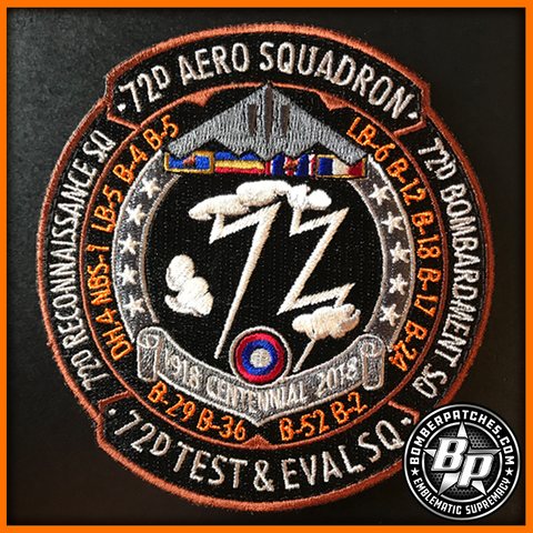 72d TEST AND EVALUATION SQUADRON 100TH ANNIVERSARY PATCH, B-2 WHITEMAN AFB Full Color