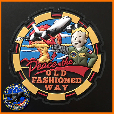 """PEACE THE OLD FASHIONED WAY"" AIRBORNE COMMAND POST FALLOUT MORALE PVC PATCH"