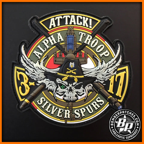 "AH-64 APACHE 3D SQ 17TH CAVALRY ALPHA TROOP ""SILVER SPURS"" FULL COLOR PVC PATCH"