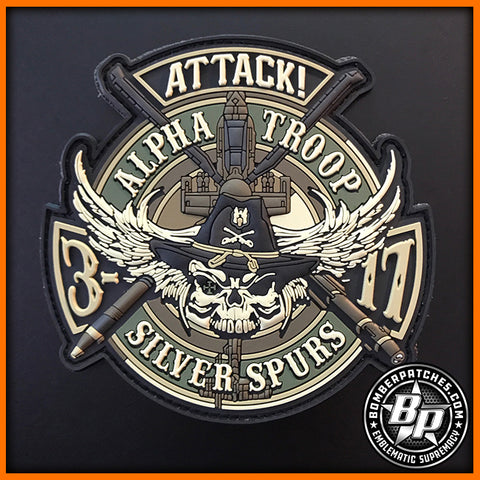 "AH-64 APACHE 3D SQ 17TH CAVALRY ALPHA TROOP ""SILVER SPURS"" MULTICAM PVC PATCH"